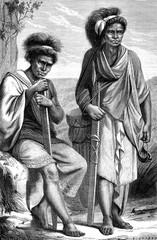 Natives of Timor, vintage engraving.