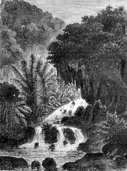 Cataract in Ambon, vintage engraving.