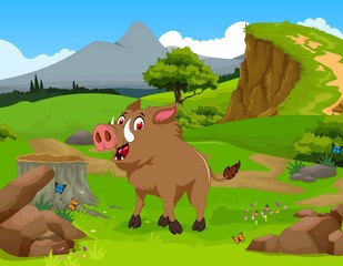 funny Wild boar cartoon in the jungle with landscape background
