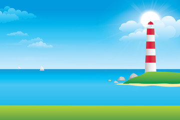 Sky and sea with lighthouse on an island. Vector illustration