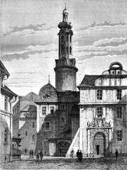 The old castle of Weimar, vintage engraving.
