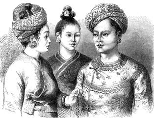 King Muong You and his two wives, vintage engraving.