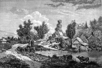 Chinese Bridge in Muang Long, vintage engraving.