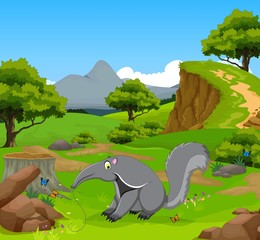 funny anteater cartoon in the jungle with landscape background