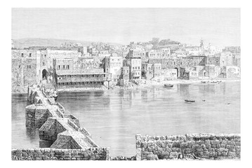 Northern Port of Sidon in Lebanon, vintage engraving