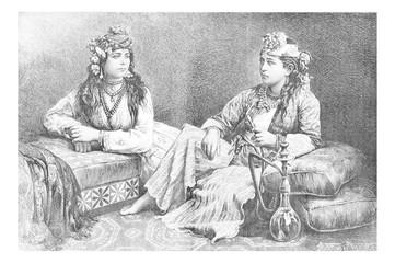Metouali Women of Sidon, Lebanon, vintage engraving