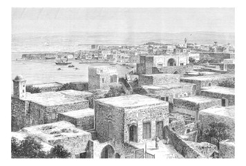 Northern Port of Tyre, in Lebanon, vintage engraving