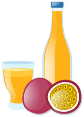 Passion fruit juice in glass and bottle