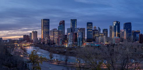 Printed roller blinds Beijing Calgary's skyline at sunrise along the Bow River.