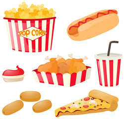 Fastfood set with hotdog and popcorn
