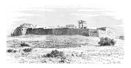 Kalat es Schema Castle, near Tyre, Lebanon, vintage engraving
