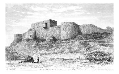 Tebnine Castle in Abel Mountain, Lebanon, vintage engraving