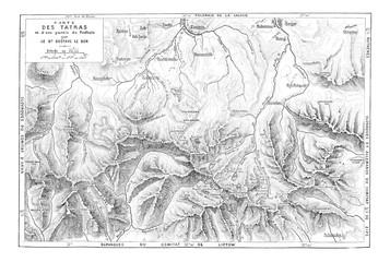 Map of the Tatra Mountain Range, vintage engraving