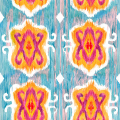 Ikat seamless bohemian ethnic pattern in watercolour style. Watercolor  oriental ornaments.