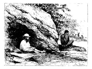 In the Shade of a Large Rock in Oiapoque, Brazil, vintage engrav