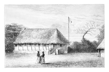 Belmonte House in Angola in Southern Africa, vintage engraving