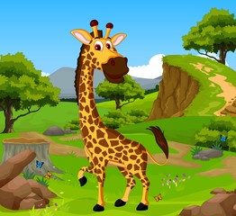 funny giraffe cartoon in the jungle with landscape background