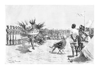 Mabandan Dancer, vintage engraving
