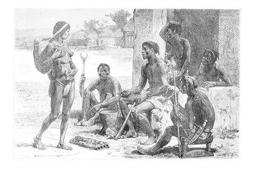 Men, Women and Tools of the Luchazes, vintage engraving