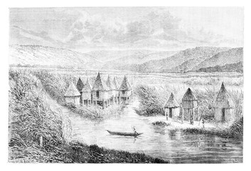 Cabou-heo-oue Village, vintage engraving