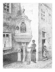 Old Brussels, View of a Street in San Marino, vintage engraving
