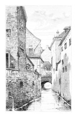 The Thines in Nivelles, Belgium, vintage engraving