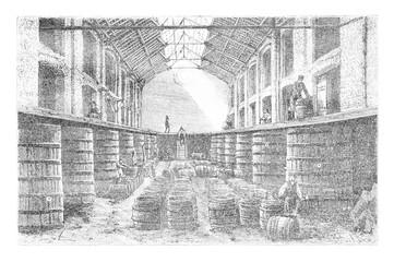 Inside a Brewery at Diest, vintage engraving