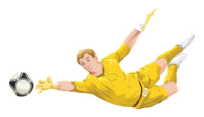 Vector of goalkeeper in action.