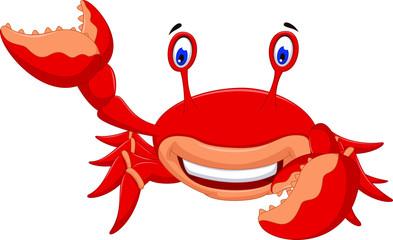 cute crab cartoon smiling