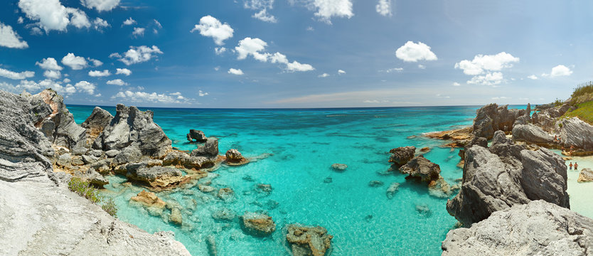Panorama of rocky Bermuda coast