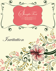 Vintage invitation card with ornate elegant retro abstract flora