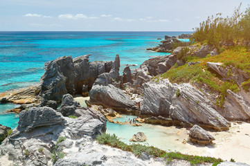 Rocky bay with blue water