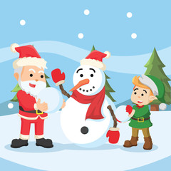 santa and elf building snowman