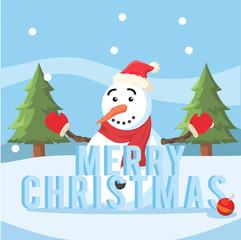 snowman merry christmas illustration design