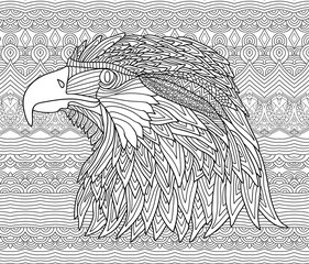 Zenart. Coloring book page for adults. Hand-drawn figure of an eagle with patterns