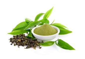 powder green tea and green tea leaf  on white