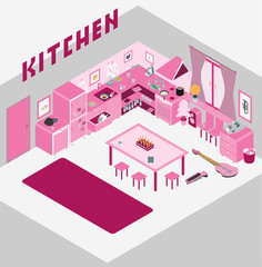 Kitchen with furniture. and Flat style vector illustration.
