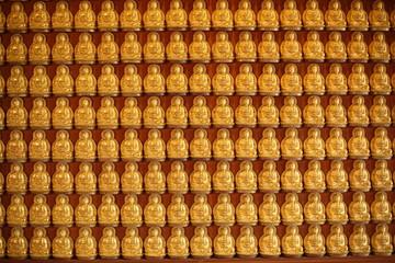 Rows Of Golden Buddha Statues at Wat Leng Nei Yi 2 in Nonthaburi, Thailand