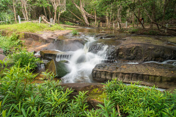 Kbal Spean the mystery waterfall on Kulen mountains range of the ancient Khmer empire  in Siem Reap province of Cambodia.
