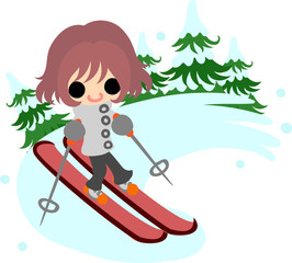 The cute illustration of autumn and winter -Ski-