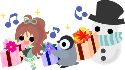 The cute illustration of autumn and winter -A penguin and snowman and present-