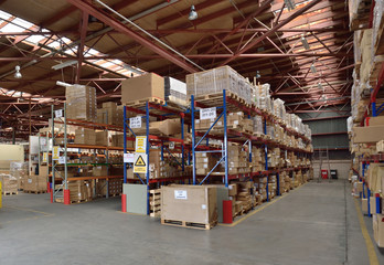 A warehouse with stocked shelves