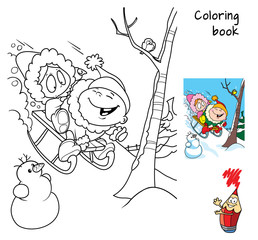Children sledding down the hills. Coloring book. Cartoon vector illustration