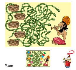 Indian snake charmer. Educational maze game for children. Cartoon vector illustration