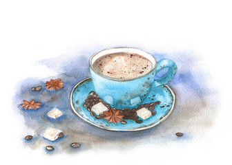 Watercolor turquoise coffee cup with sugar and star anise