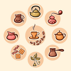 Vector illustration set of coffee and tea icons. Suitable for web and mobile APP UI