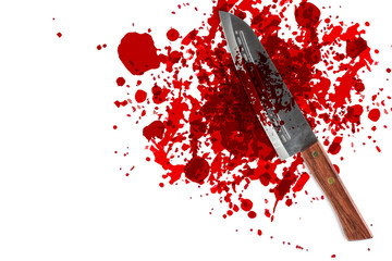 knife with grunge of blood with space for text, bloody murder or death crime killer violation concept.