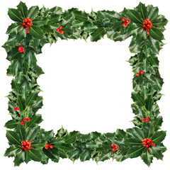 Christmas Frame of Green Holly Leaves  and Berries Isolated on W