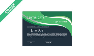 Elegant simple Certificate decorated template with green shapes and golden lines vector