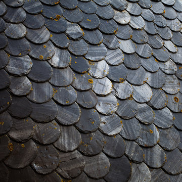 Roof made of slate pieces.